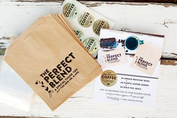 Wedding Favor Coffee Bags - The Perfect Blend - Coffee Kits - 24 Bags + Stickers