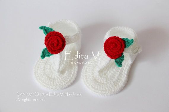 Crochet baby sandals gladiator sandals girl by EditaMHANDMADE