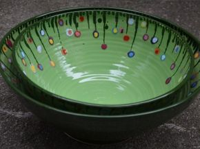Gabi Winterl Keramik, Keramik, Schüssel mit Blumenwiese