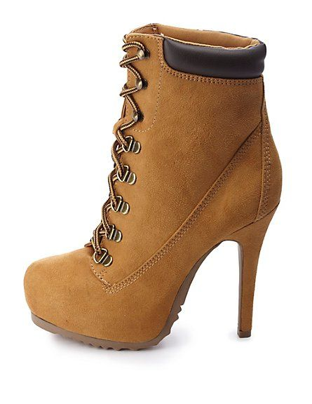 Lace-Up High Heel Work Booties: Charlotte Russe these would be perf for me except id fall over ..
