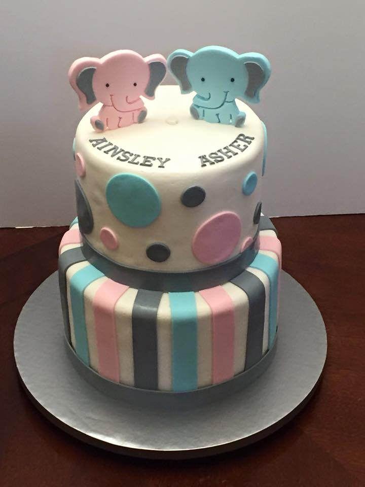 Cake Baby Shower Twins : https://flic.kr/p/D5uj8Y twins elephant theme baby ...