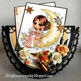 Lucy loves scrapping: With Love, Moon and Stars card (Art By Miran image)