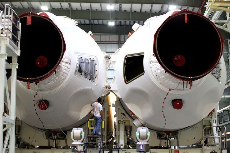 Rocket Boosters Prepared For Orion Spacecraft's First Flight - Engineers took another step forward in preparations for the first test flight of NASA's new Orion spacecraft in December. At the United Launch Alliance (ULA) Horizontal Integration Facility (HIF), at Cape Canaveral Air Force Station, Florida, the three primary core elements of the ULA Delta IV Heavy rocket recently were integrated, forming the first stage of the launch.