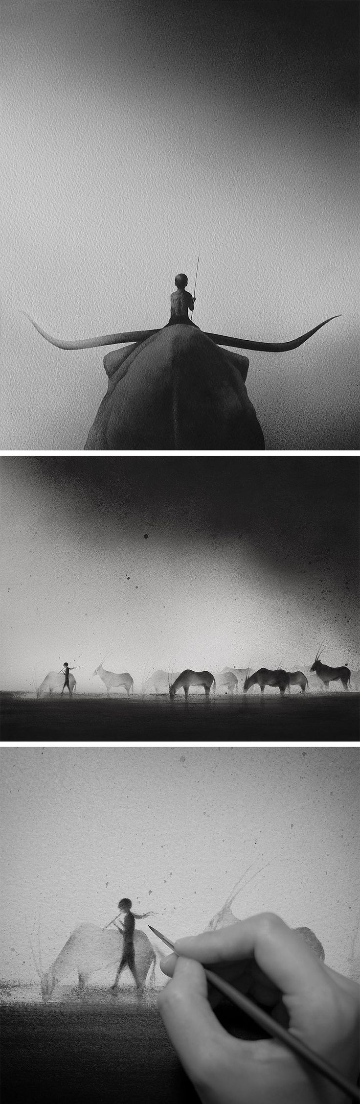 Hazy Black Watercolor Paintings of Children with Animals by Elicia Edijanto - Pinning this because this just came across my dash and I realized it's the artist that does some of the art for Sleeping at Last! (: