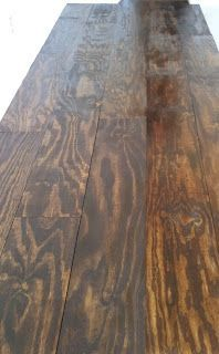 DIY:  Flooring on a budget!    Plywood purchased at Home Depot (they cut it for free), is nailed, stained & sealed.  Very easy tutorial & a very inexpensive way to recover your floor!!!