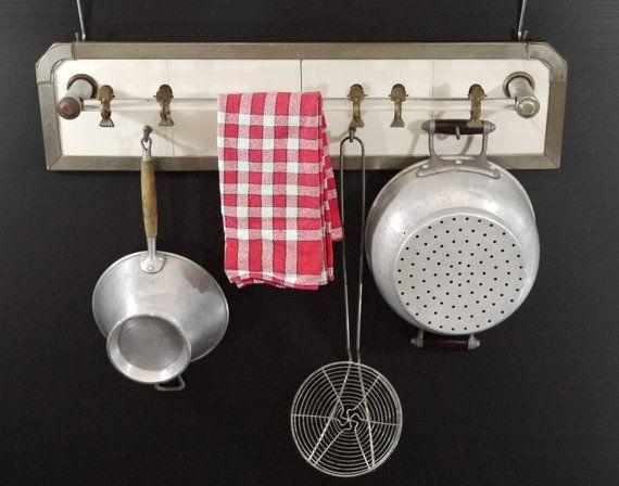 Vintage Kitchen Wall Dish Towel Hanger Metal Rustic French Kitchen Towel Hooks
