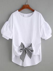 Blusa a rayas con lazo manga puff -blanco
