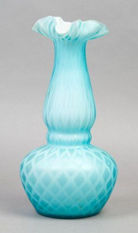victorian blue quilted cased glass vase