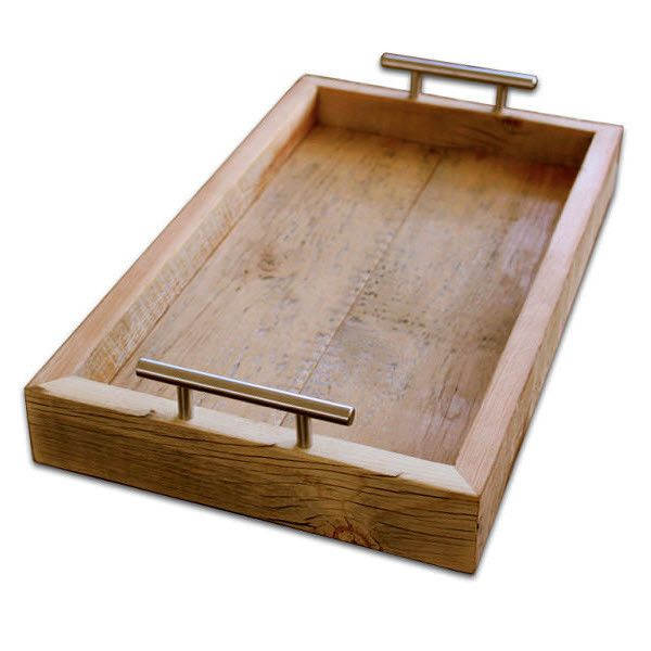 Reclaimed Wood Tray With Steel Handles