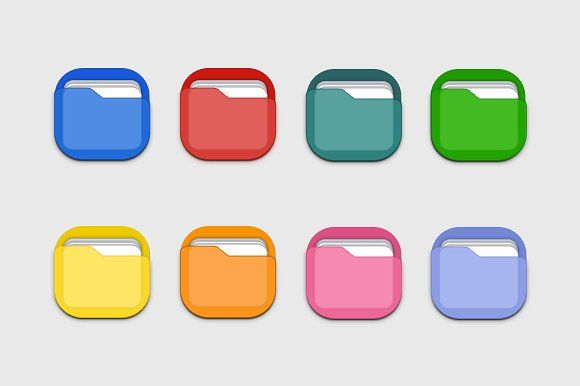 8 Colourful Folder Icons by Creative VIP on @creativemarket