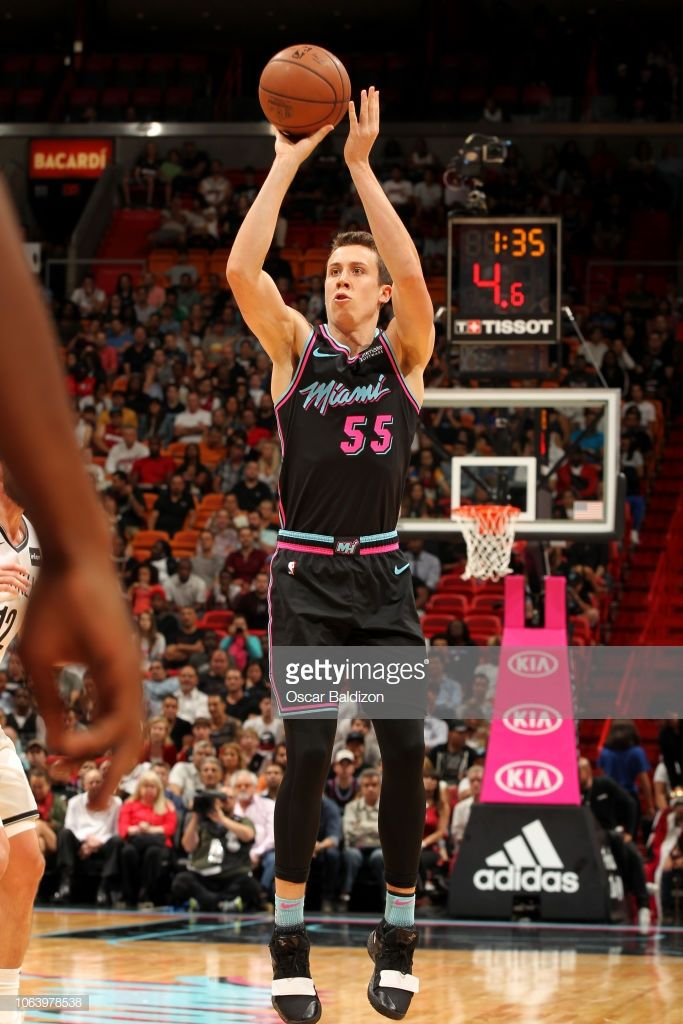 Duncan Robinson Of The Miami Heat Shoots The Ball Against The Miami Heat Miami Heat