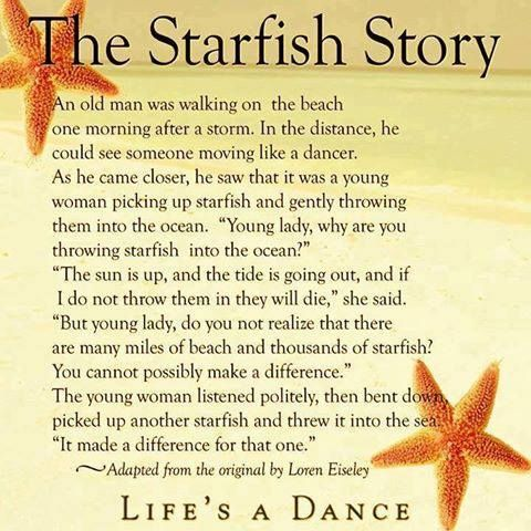 The Starfish Story quote story wisdom starfish difference - My Tattoo Story