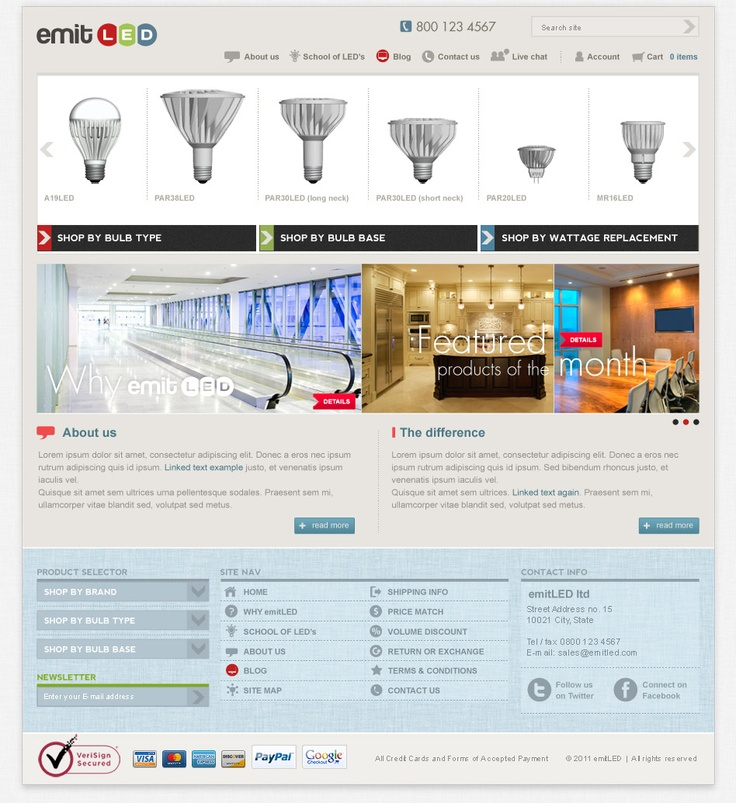 Laoyout proposal for an LED bulb online shop. The site is online at: http://www.emitled.com