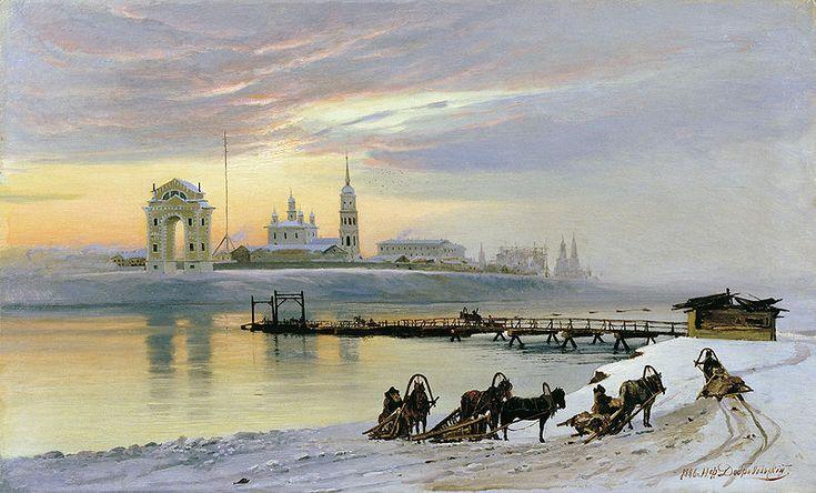 Переправа через Ангару на картине Н. Добровольского (1886).
