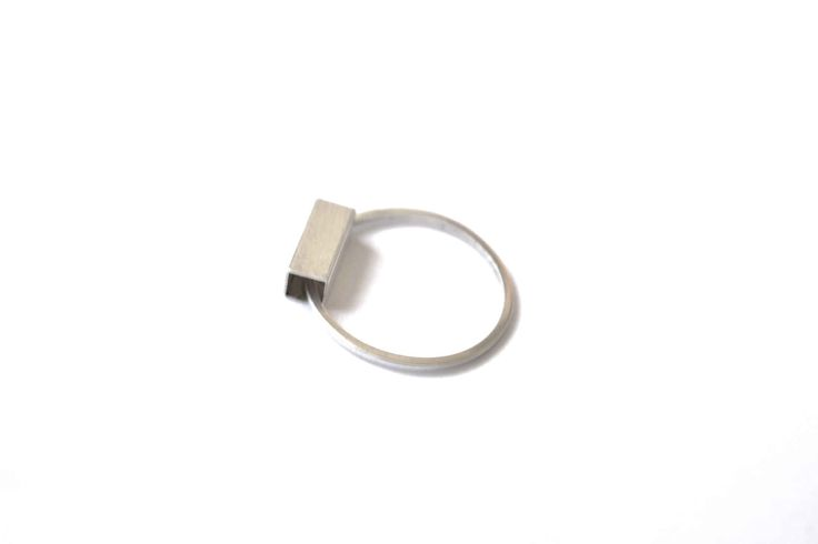 Rectangle hoop ring - silver