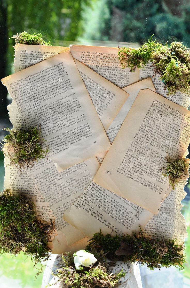 Book lovers' candy bar detail - vintage pages and moss make for a cute backdrop