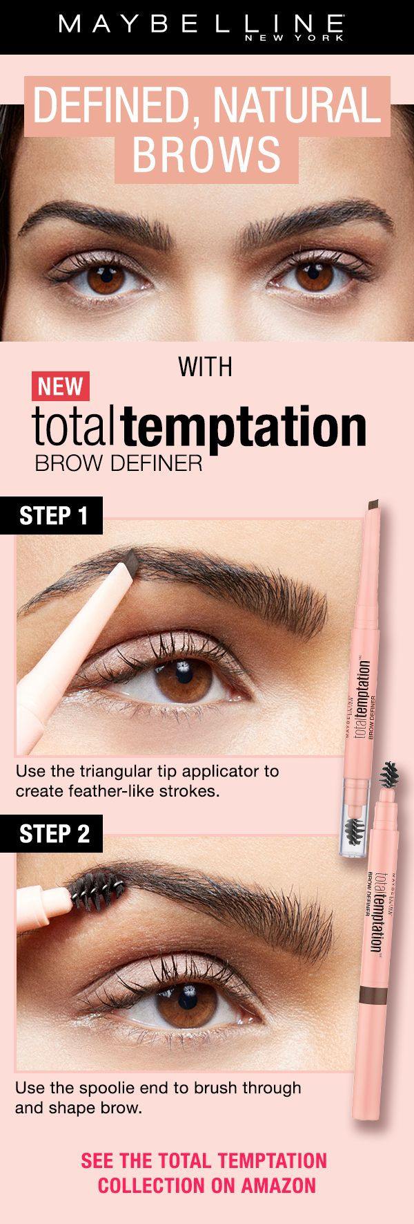 Fill in and shape eyebrows with this must-have mechanical eyebrow pencil. Also, discover more of Total Temptation, Maybelline's most addictive makeup collection. Define and fill with the teardrop shaped applicator. Next, use the spoolie to blend through the brow for a natural eyebrow look.