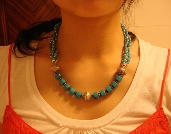 Handmade Nepalese Tibetan turquoise beads by nepalesejewelry, $15.99
