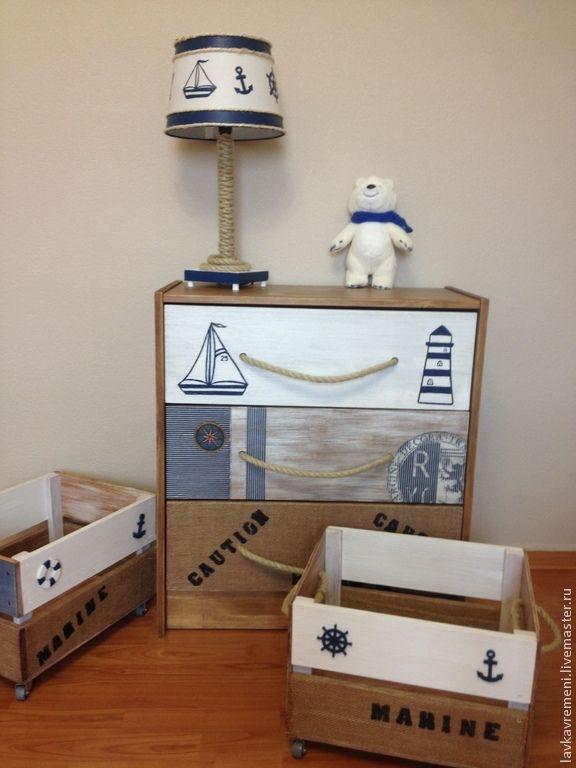 """Купить комплект в детскую комнату """"Мореплаватель"""" - детская комната, детский комод, мебель ручной работы"""