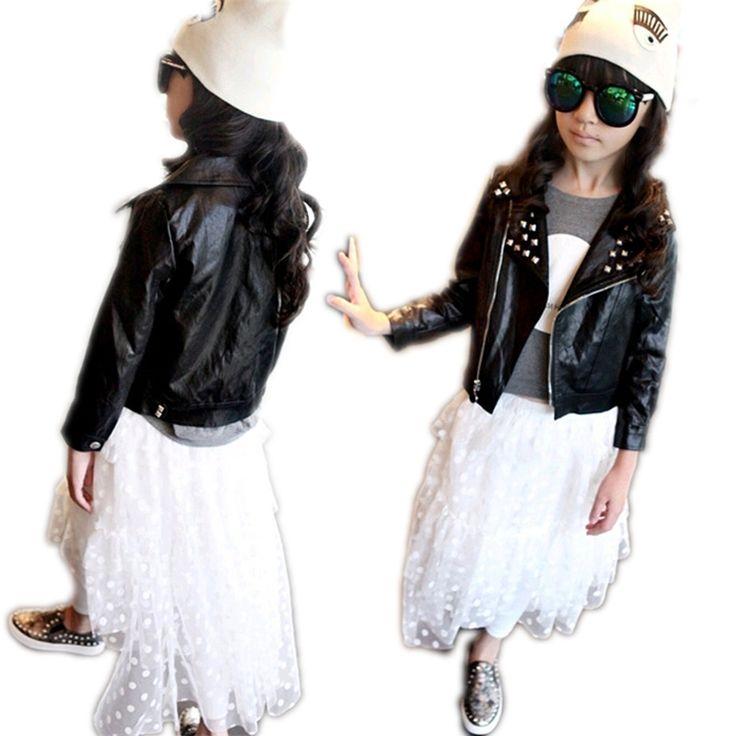 38.50$ Watch here - https://alitems.com/g/1e8d114494b01f4c715516525dc3e8/?i=5&ulp=https%3A%2F%2Fwww.aliexpress.com%2Fitem%2F2015-girls-PU-leather-motorcycle-jackets-rivet-kids-outwear-girls-fashion-clothing-kids-winter-jackets-and%2F32490143956.html - 2016 girls PU leather motorcycle jackets rivet kids outwear girls fashion clothing kids winter jackets and coats age 2-7children