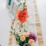 Burlap hessian runner with lace. Dahlias, Roses, Gum. Country style wedding Kiama Bushbank   Owl + Pussycat Events