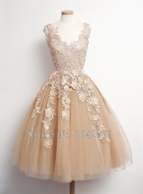 Vestido De Noiva Curto A Line Tea Length V Neck Backless Tulle Bride Gown Vintage Short Champagne Wedding Dresses With Appliques