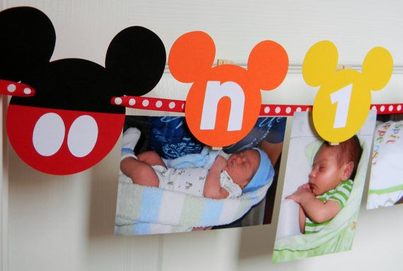 Mickey Mouse Clubhouse Birthday Party -  First Year Photo Clothespin Banner