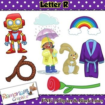 Beginning Sounds, Letter R Clip art set, commercial use ok. This set contains 7 Letter R images (total of 21 in color, black outline and black and white). Each image is PNG and 300dp