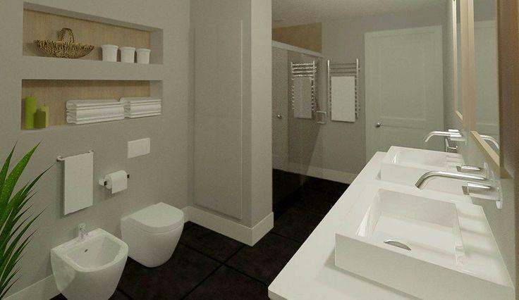 Baño moderno en 3D