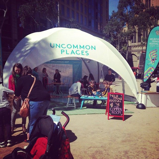 """@melbfringe's photo: """"In town for the parade? Stop by the #mfringe Common Room at City Square for some giant jenga, connect four or to print your fave Uncommon Places snaps at our Impossible Lab!"""""""