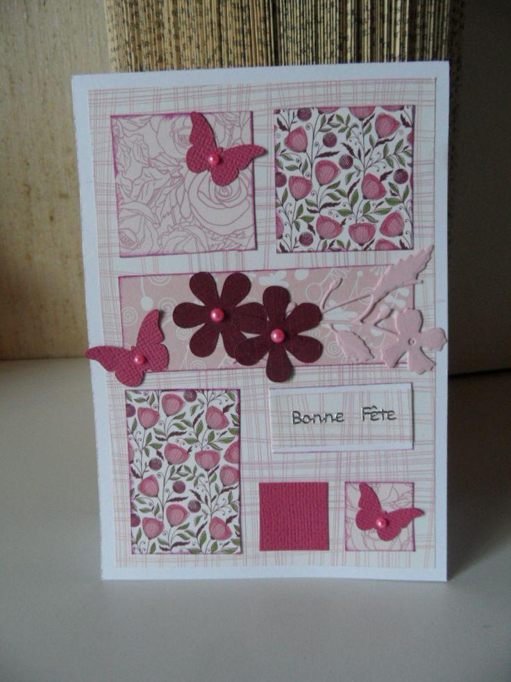 Carte scrappée pour qui aime le rose : Cartes par made-by-newscrapeuse