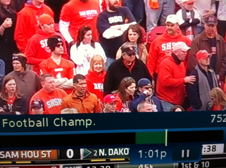 Julia and I at the FCS championship game in Frisco, Texas supporting the Sam Houston State University Bearkats. This picture was taken off of a tv screen as we were on tv.