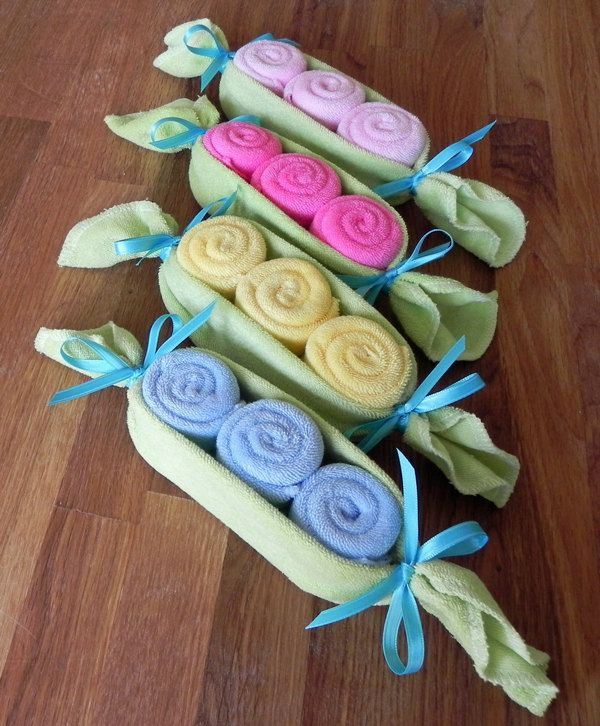 Baby Washcloth Pea Pod - Unique Baby Shower Gifts and Favors infant washcloth cute boy girl neutral. $10.00, via Etsy.
