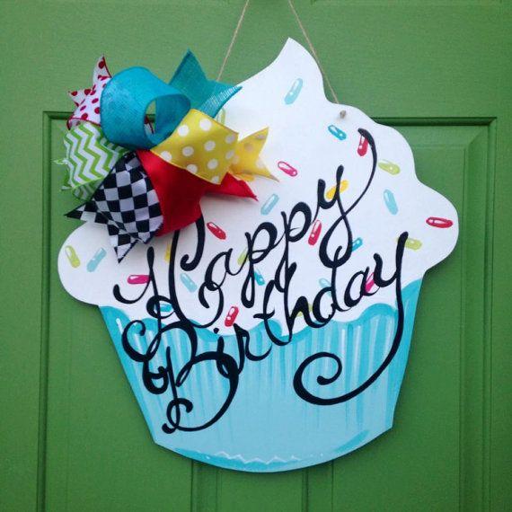 Happy Birthday Wooden Door Hanger