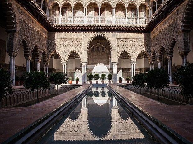 L'Alcazar de Séville en Andalousie, en Espagne