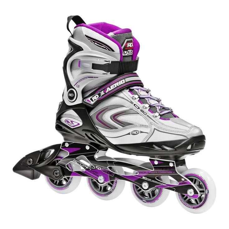 Roller Derby Women's Aerio Q-80 Inline Skates - White/Purple 10, Purple White