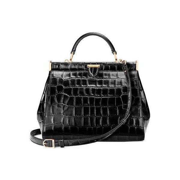 Aspinal of London The Dockery  Small ($1,570) ❤ liked on Polyvore featuring bags, handbags, black, satchels, hand bags, man satchel bag, vintage crocodile handbags, vintage handbags purses and crocodile purse