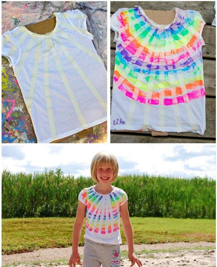 Kinder T-Shirt mit Malerband und Textilfarbe aufpeppen