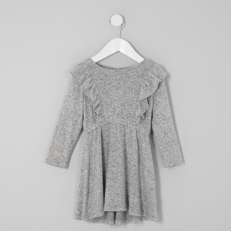 River Island Mini Girls Frill Long Sleeve Knit Dress #girlsdress