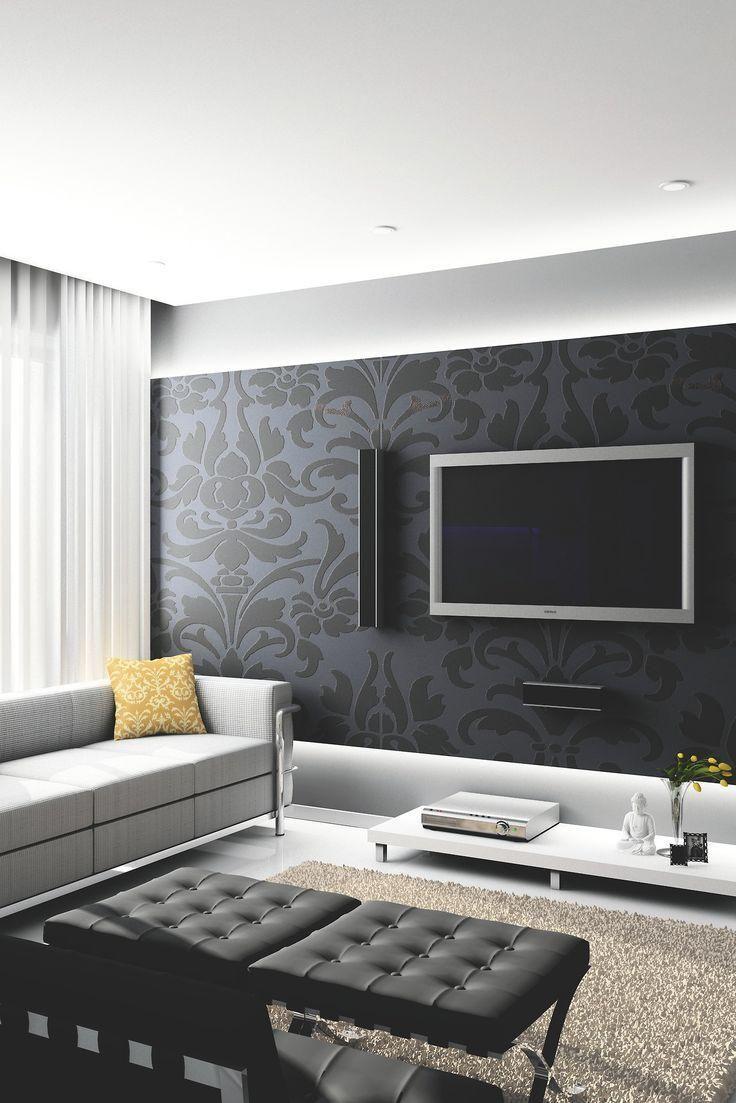 Sala de TV com papel de parede escuro