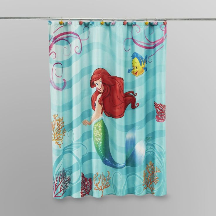 Blue Fabric Striped Mermaid Shower Curtain On Stainless Steel Hook