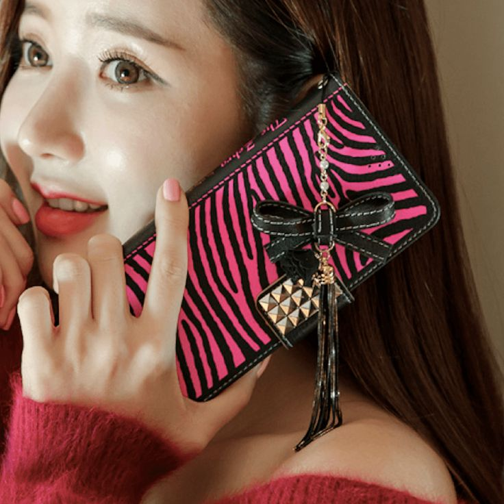The Zebra Handmade Wallet Case - Hot pink