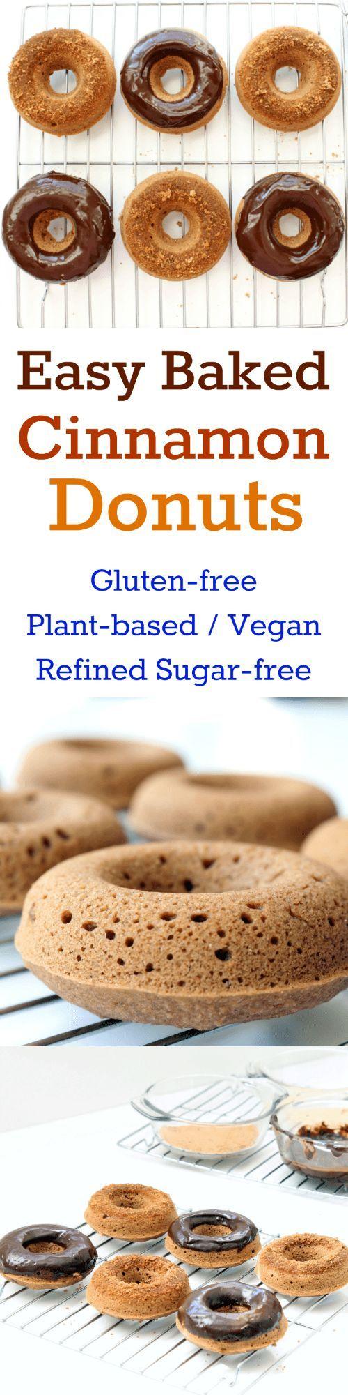Easy Baked Cinnamon Donuts (Gluten-free, Plant-based / Vegan, Refined Sugar-free)