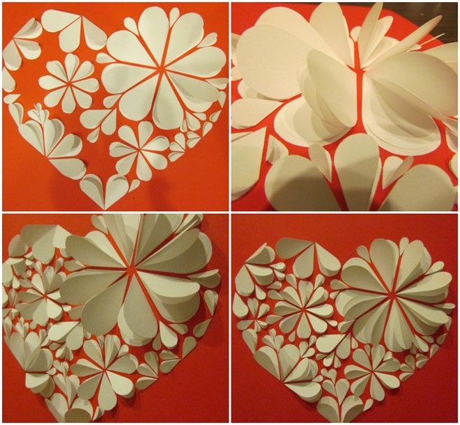 Simple Artwork Using Paper 3d Heart Flowers Kids Paper Flowers