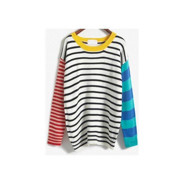 Colour-block Striped Loose Sweater ($17) ❤ liked on Polyvore featuring tops, sweaters, shirts, jumpers, romwe, multicolor, long sleeve pullover shirts, loose shirts, white long sleeve sweater and white jumper