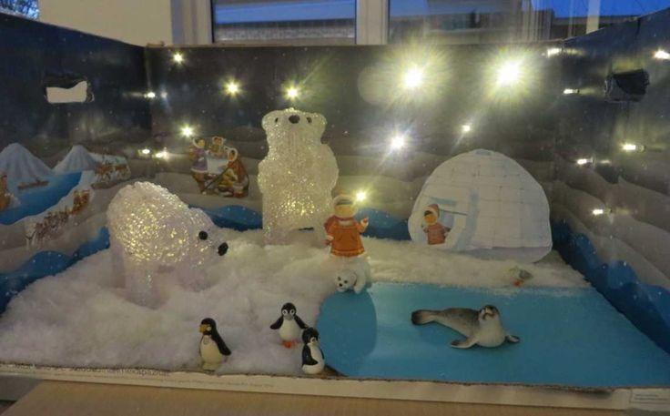 Diorama thema Noordpool en Zuidpool, te gebruiken als thematafel, zie omschrijving op de site,  kleuteridee.nl