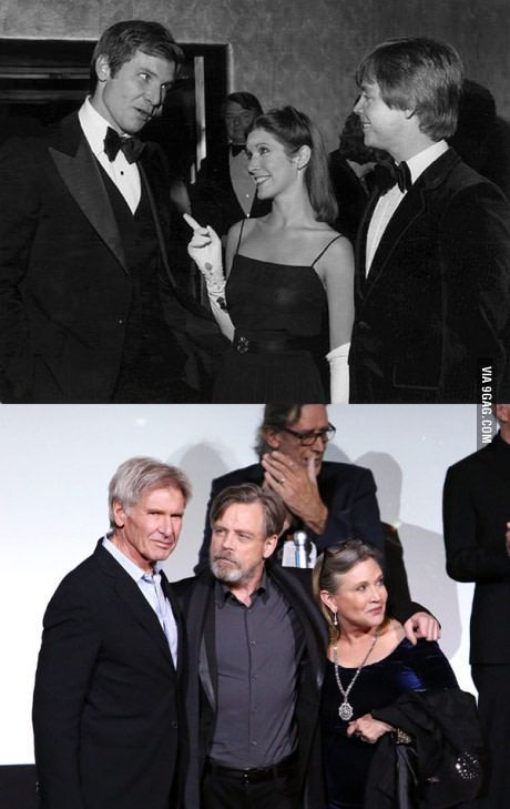 Star Wars premieres, then and now. Harrison Ford, Mark Hamill, and Carrie Fisher