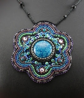 bead embroidered neckalce    beadwork beaded