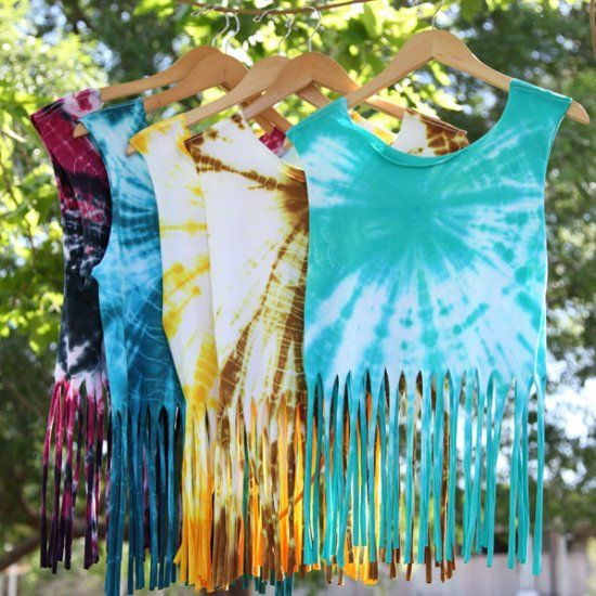 Make these pretty fringed tanks in every color for your wardrobe using a plain t-shirt, dye, and scissors!