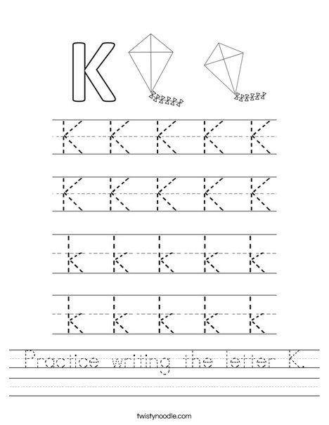 practice writing the letter k worksheet twisty noodle preschool kindergarten worksheets. Black Bedroom Furniture Sets. Home Design Ideas